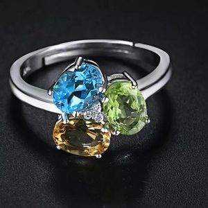 Jewelry - Oval Natural Topaz Peridot Citrine Ring.